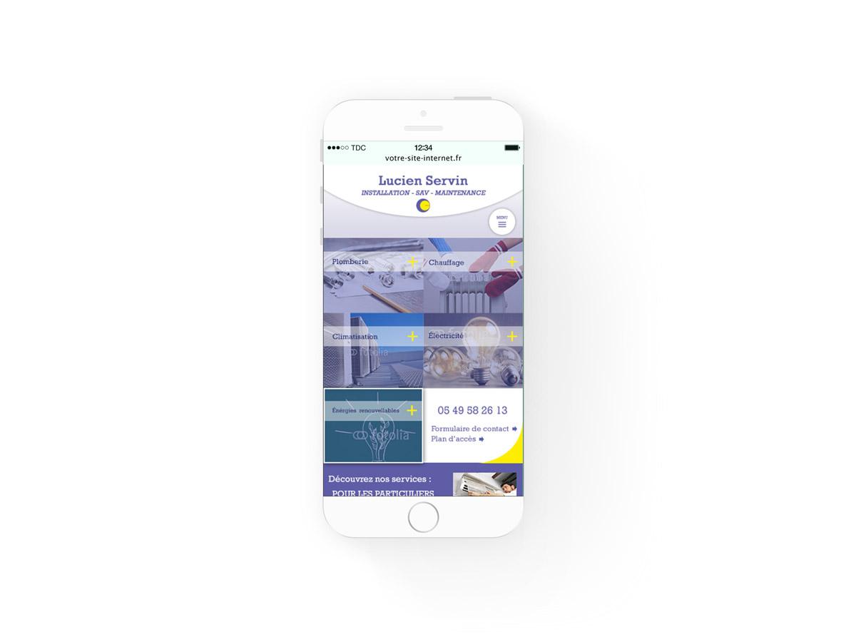maquette du site internet en version mobile pour l'entreprise lucien servin