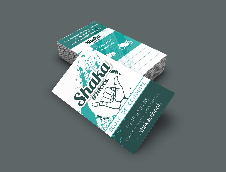 création de cartes de visites pour l auto ecole shaka school