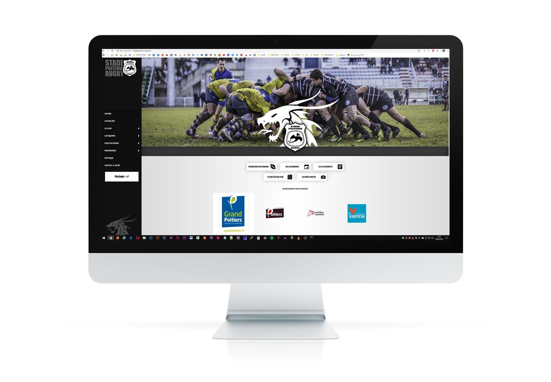 visuel sur ecran du site internet du stade poitevin rugby