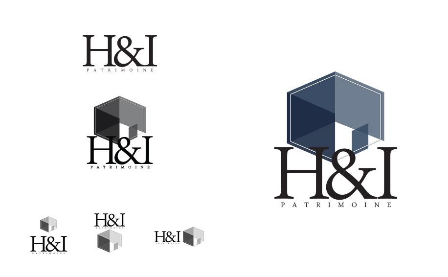 Déclinaisons et tests de logos de l'agence immobiliere H&I patrimoine