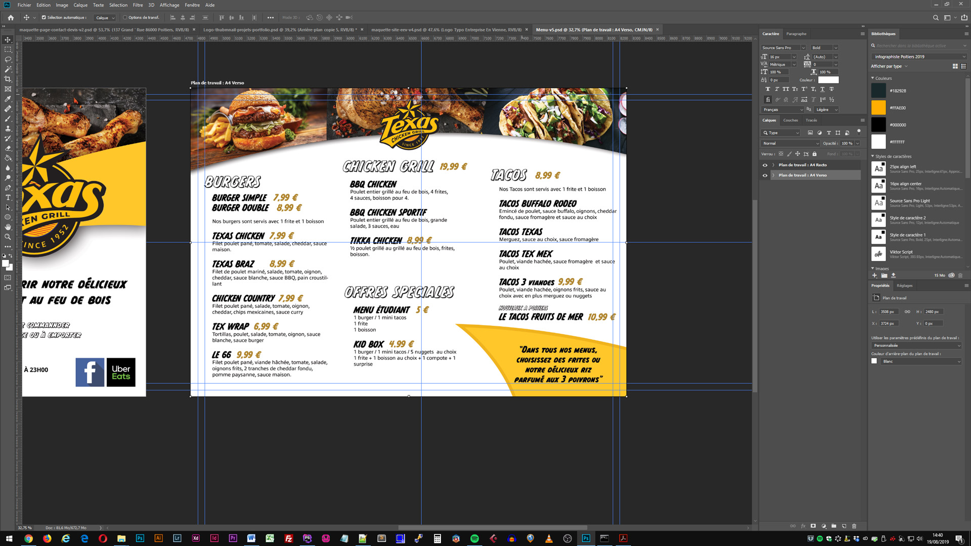graphic design d'un menu sous photoshop