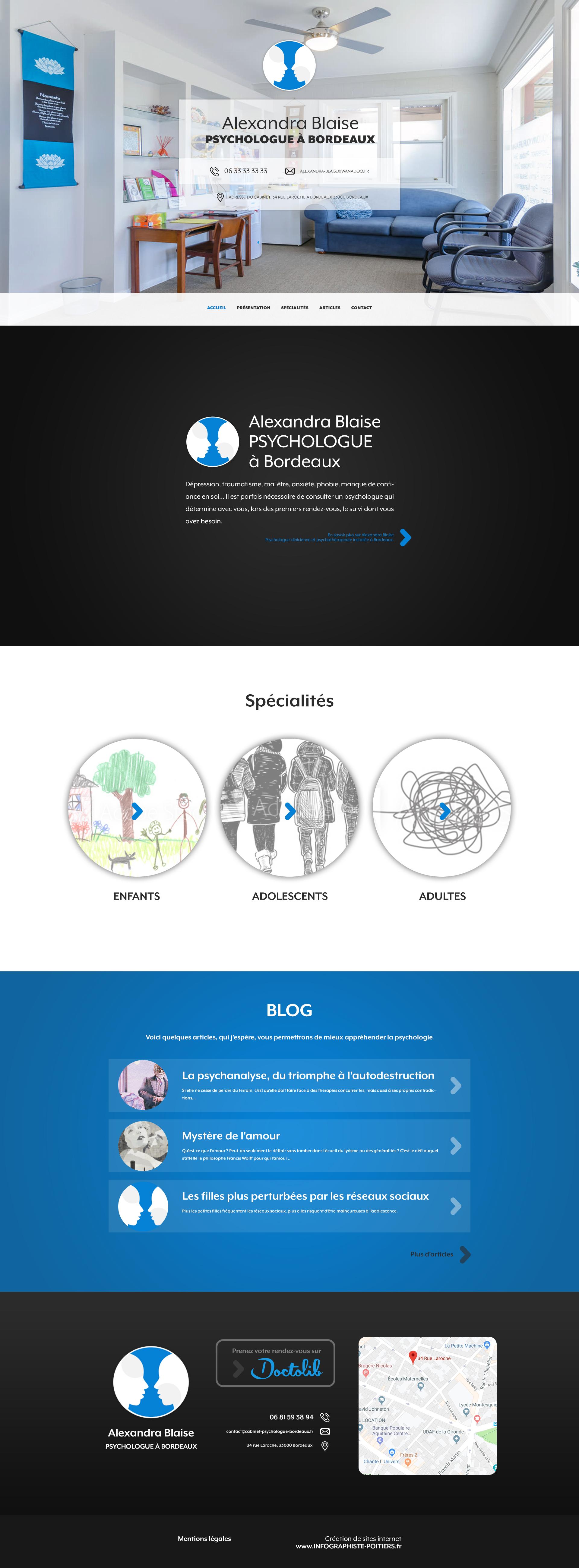 Maquete de la page d'accueil du site internet d'Alexandra Blaise psychologue