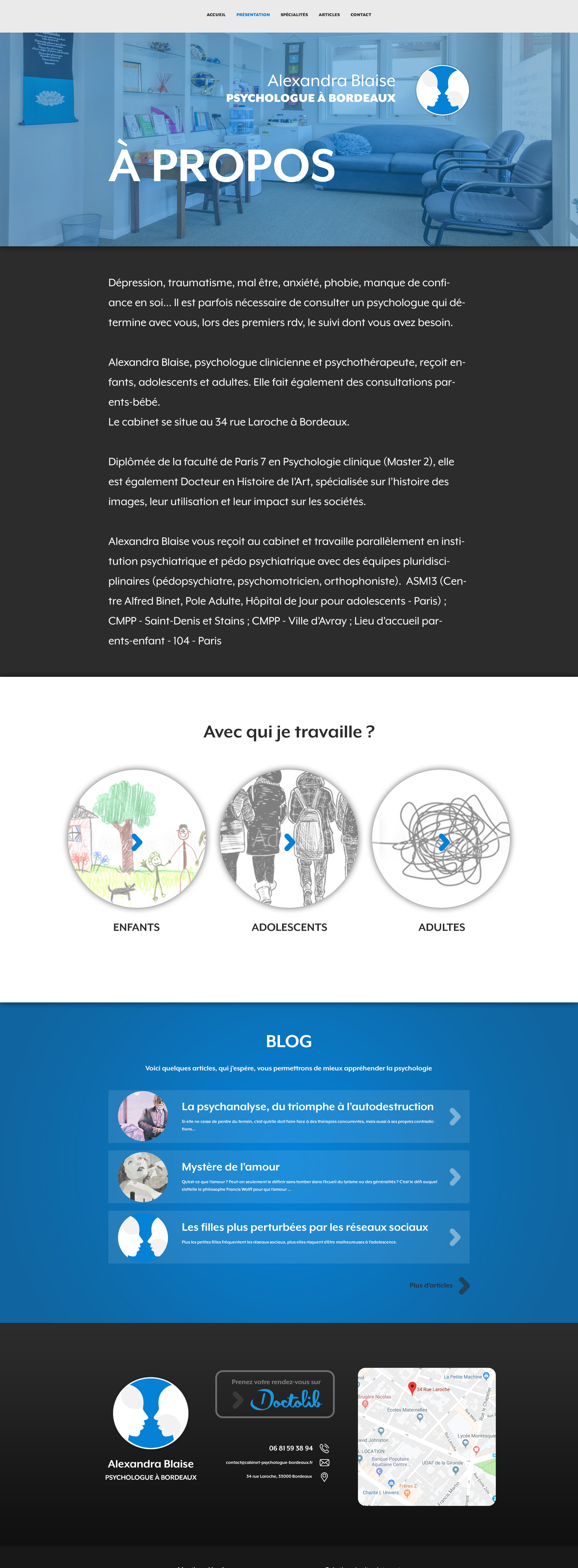 Maquete de la page à proposdu site internet d'Alexandra Blaise psychologue