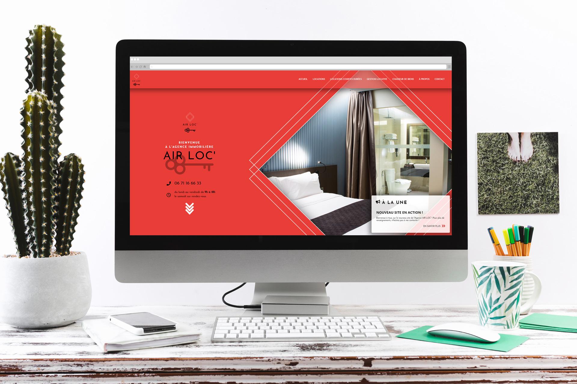 Maquette pour IMAC de site internet responsive réalisé pour l'agence immobilière AIRLOC