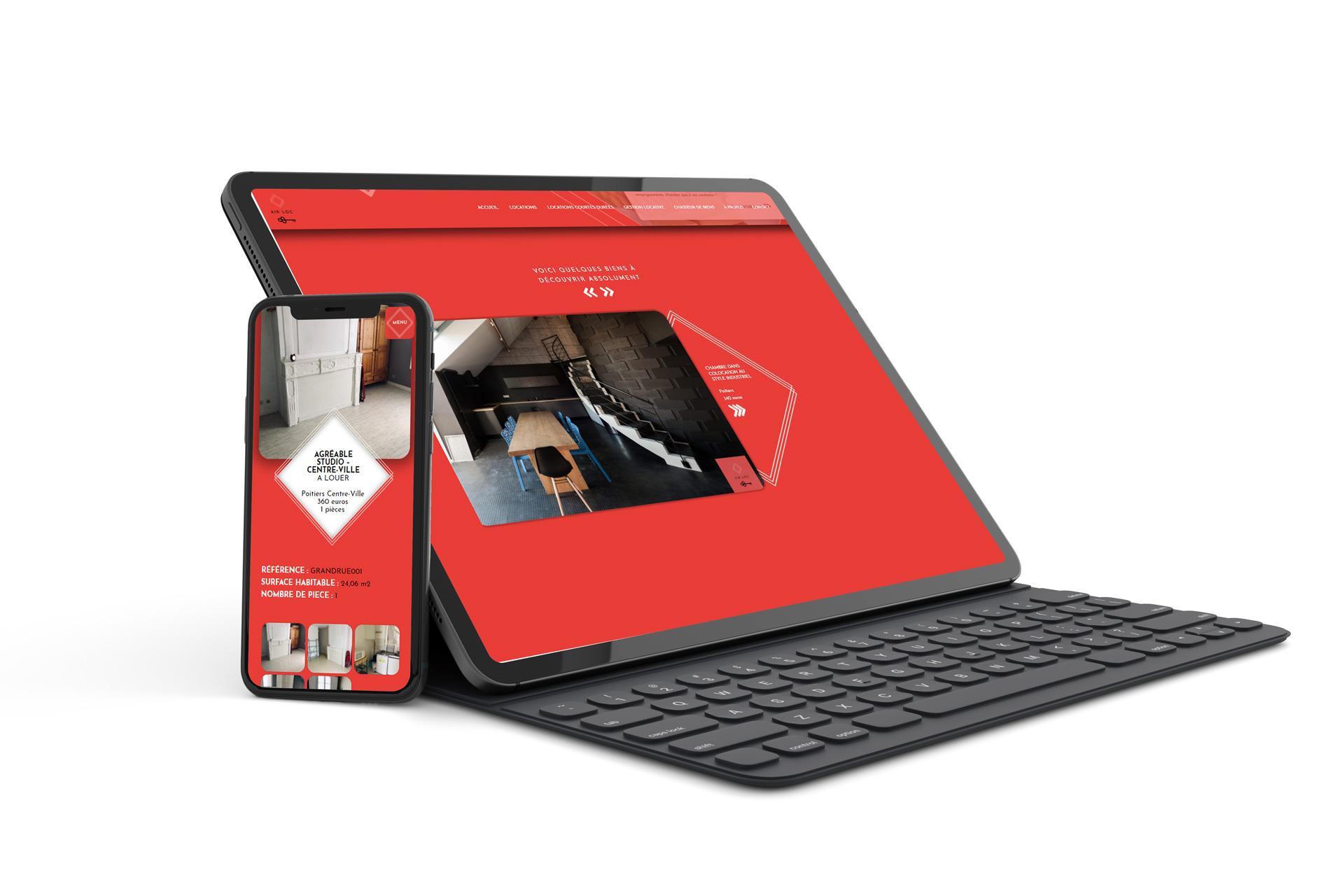 Maquette pour smartphone et pc portable de site internet responsive réalisé pour l'agence immobilière AIRLOC